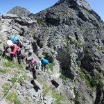 アンザイレンして2峰の登攀