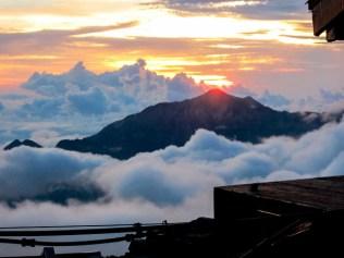 夕日の笠ヶ岳