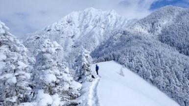 青ナギから阿弥陀岳を望む
