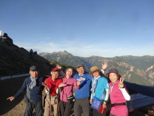 4日目の最終日も素晴らしい天気!燕山荘からも富士山が見られる。素晴らしい天気でこのメンバーで楽しい山行でした!