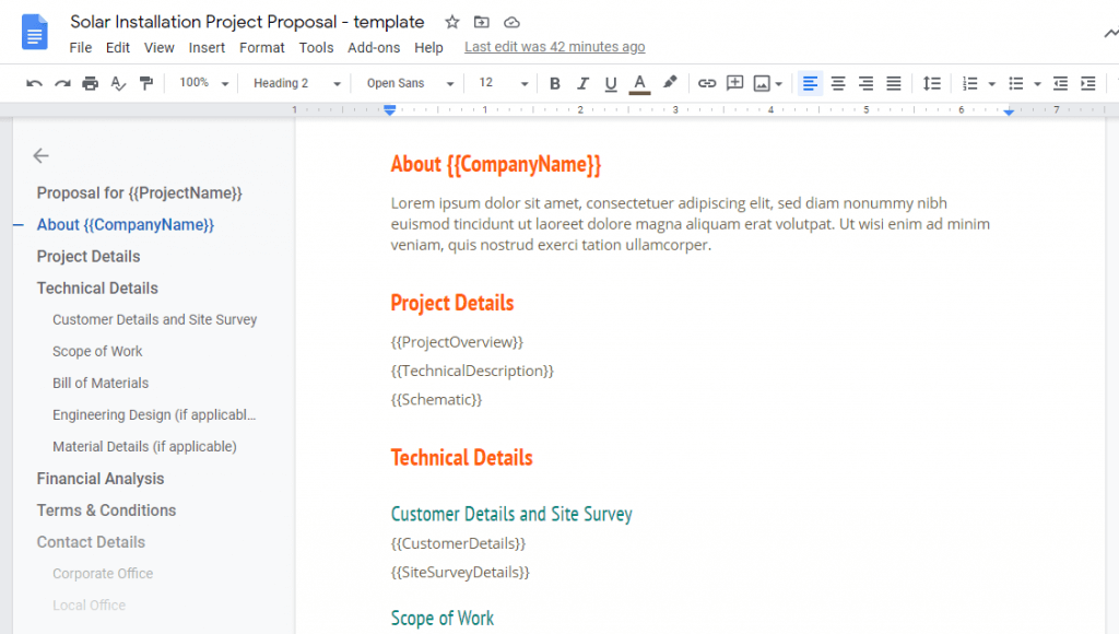 solar proposal template in Google Doc format