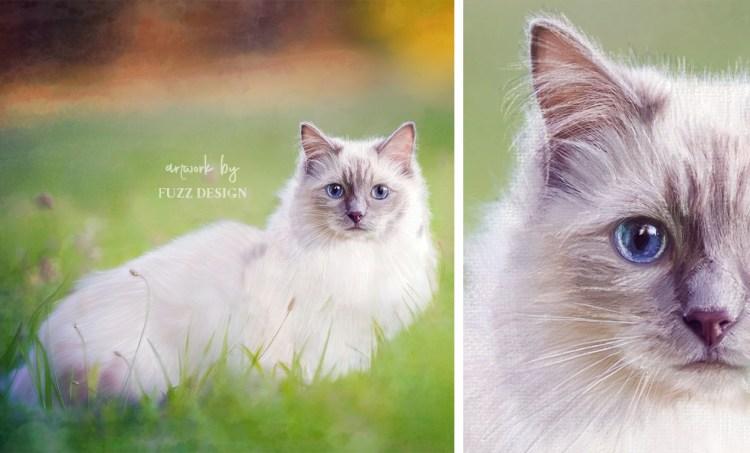 cute painting portrait cat