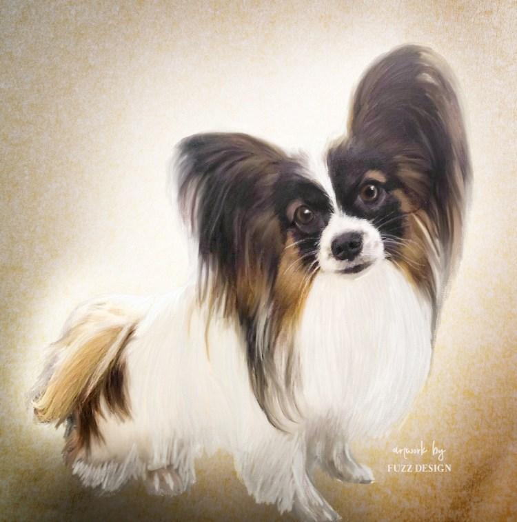 cute painting portrait dog puppy