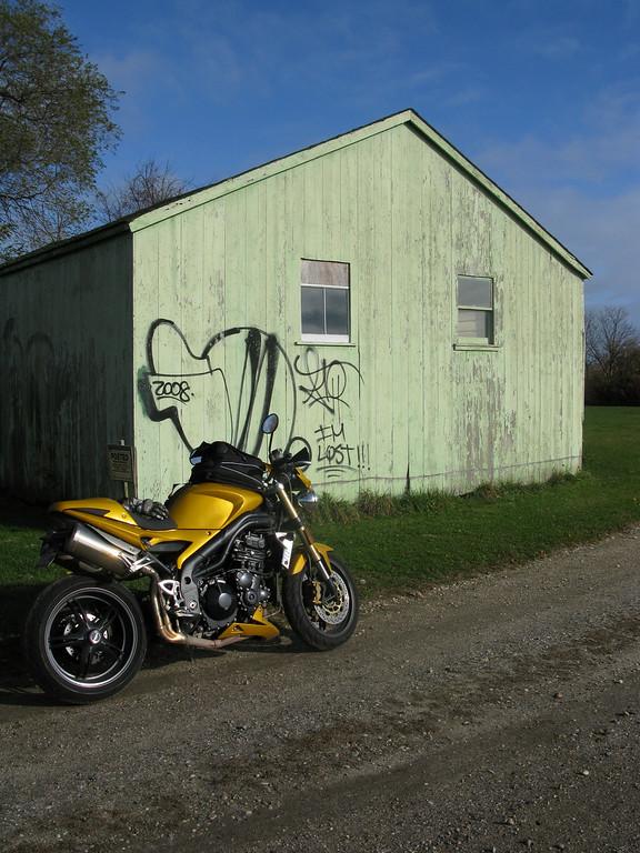 Triumph Speed Triple with I'm Lost Graffiti