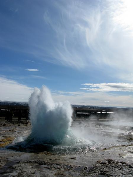 Erupting geysir in Geysir Iceland
