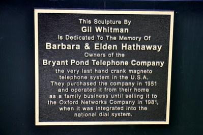 World's Largest Telephone Plaque Bryant Pond Maine