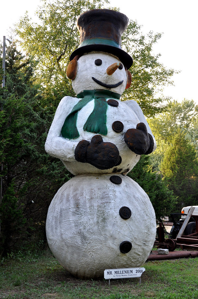 Hamptons Giant Snow Man Mr. Millenium - a long island roadside attraction