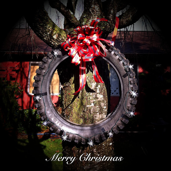 Motorcycle Tire Christmas Wreath