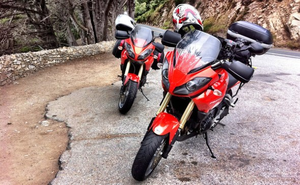 Rented Triumph Tiger 1050s on Highway 1