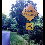 Sudden Curve Motorcycle Sign Blue Ridge Parkway