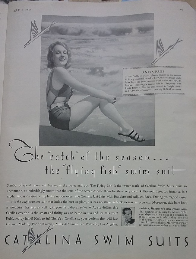 4e57f1e7f5 I did a lot of searching for my suit, but the closest I found was the suit  in this 1932 ad. The ad does not tell us the fiber of the yarn, ...