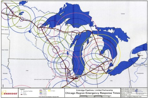 Enbridge's response times map