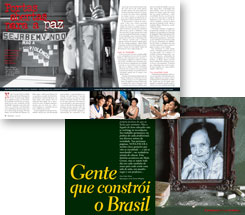 NOVA ESCOLA articles: Portas Abertas para a Paz (Doors Open for Peace) and Gente que Constrói o Brasil (People who Build Brazil)