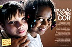 """The article """"Educação Não Tem Cor"""" (Education Has No Color), published in NOVA ESCOLA, wins IFJ awardCor,"""" cover of the November 2004 issue."""
