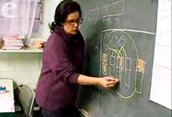 Priscilla Monteiro, creator of the Matemática é D+! (Math is the Best!) project, teaching fractions