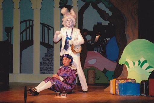 He's Late for a Very Important Date! Billy (Troy Yee) and the White Rabbit (Roger Hussen) spend some time together.
