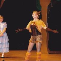 Grin and bear it! Alice (Rebekah MacEwan) meets the Cheshire Cat (Jennifer Riehl).