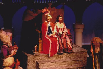 SPOILERS! The true king of Barataria, Luiz (Christopher Simmons) is crowned and takes his proper seat on the throne next to his new bride, Casilda (Debra DaVaughn).