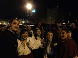 Preview Night #2. The fire alarm goes off during act one so the audience and the cast huddle together in the parking lot to keep warm.