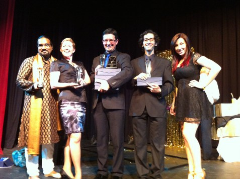 """The CTC winners from 2011/12. Reginald Pillay (Best Production - Musical, """"Beauty and the Beast""""), Carol Seitz (Best Choreographer, """"Beauty and the Beast""""), Dann Wilhelm (accepting the awards for Christy Zaporozan - Best Costumes, """"The Mikado"""", Mike Balser & Omanie Elias - Best Set Design, """"Beauty and the Beast"""", and Tim Tucker - Best Music Director, """"Beauty and the Beast""""), Adam Olgui (Best Supporting Actor in a Musical, """"The Mikado"""") and long-time member/trophy presenter, Elizabeth Lay."""