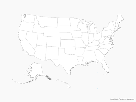 Vector Map of United States of America with States   Outline   Free     Free Vector Map of United States of America with States   Outline