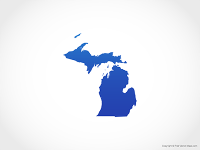 Vector Map of Michigan   Single Color   Free Vector Maps Map of Michigan   Blue