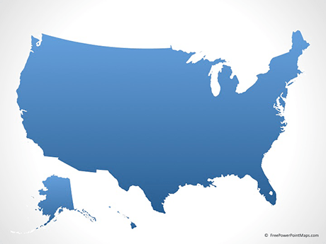 PowerPoint     Map of United States of America with States   Blue     Map of United States of America   Blue  PowerPoint