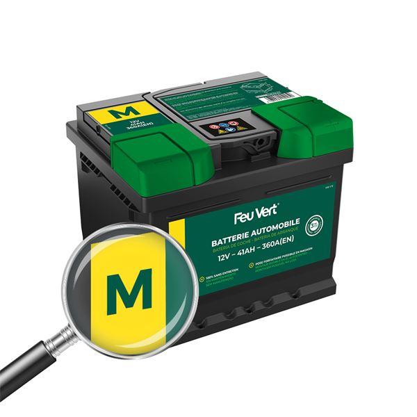 batterie voiture feu vert m 41ah 360a 12v