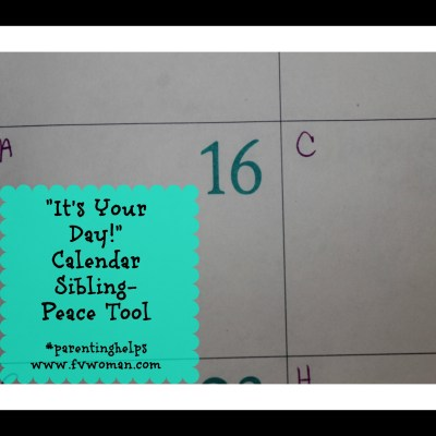 """It's Your Day!"" Calendar Sibling-Peace Tool"