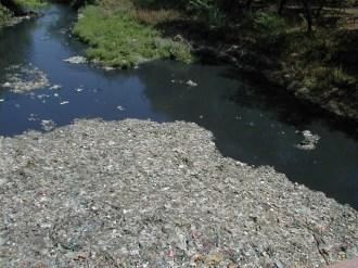 インド アーグラー城脇の川のゴミ