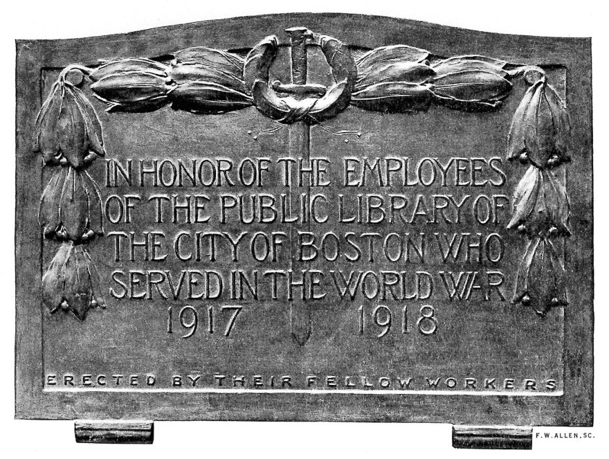 Boston Public Library War Memorial, Bronze, 1924