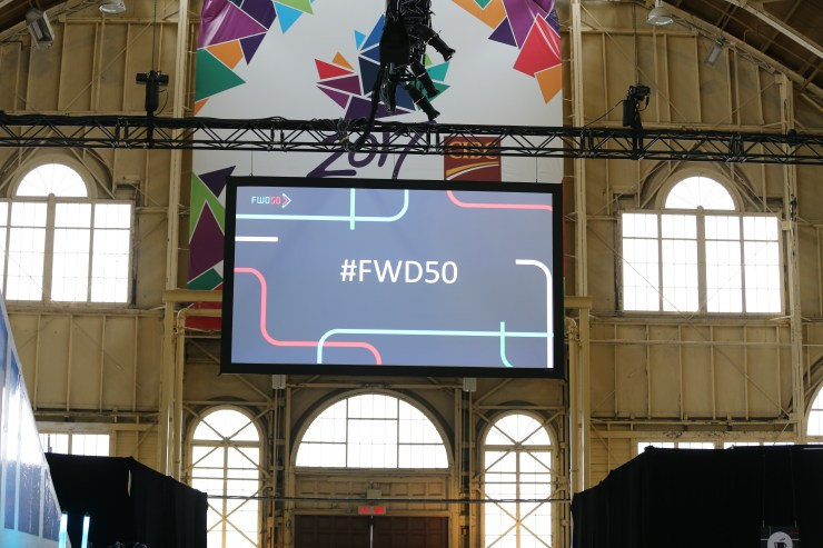 FWD50 hashtag on a screen