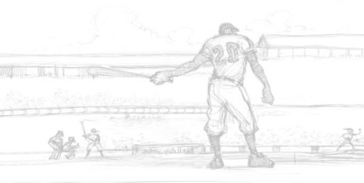Mighty Josh Gibson pencil drawing