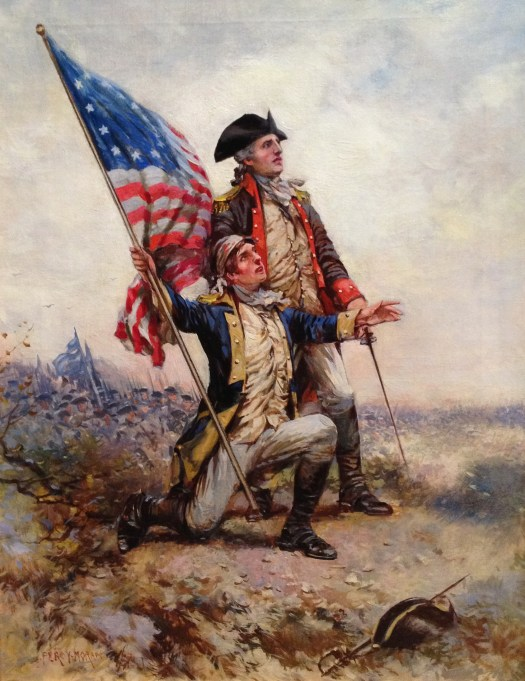 A portrait of General Anthony Wayne, he stands next to another American soldier who holds the original American flag in a landscape.