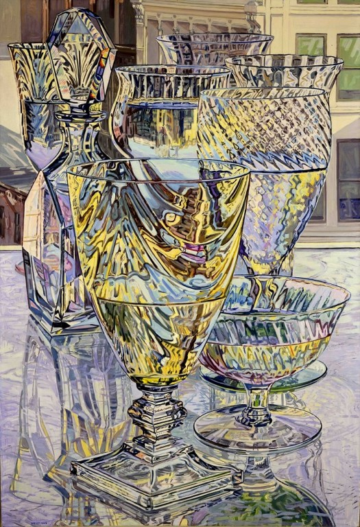 Janet Fish's oil painting is a still life of glasses, reflected on the glass table, with a cityscape in the background. Some of the glasses are half filled with water, and the play of reflection makes it an interesting and detailed work.