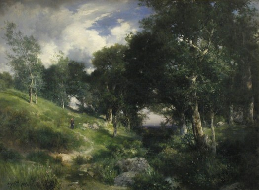 A landscape painting shows a dirt trod path running through the hills beside a creek. On the other side of the creek are trees. The sky is dark, suggesting rain.