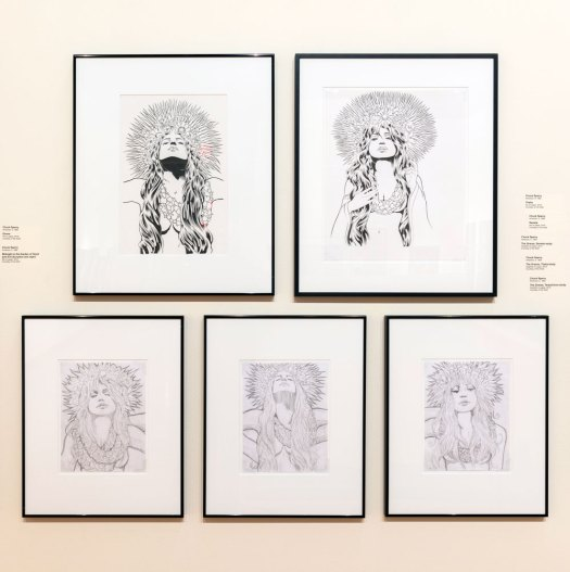 More preliminary drawings by Chuck Sperry. The expressions and gestures of the women sometimes change from pencil to pen to completed screenprint.