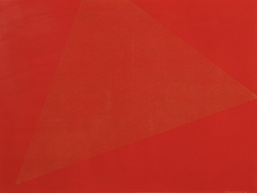 A completely red composition with an orange triangle in the center. The orange is just a different enough color from the red to be discernible, and only in certain lights.