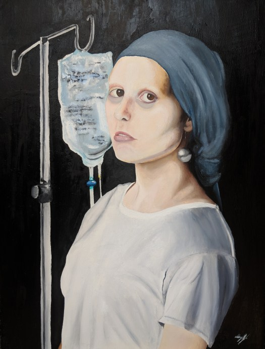 "A student took Dutch artist Johannes Vermeer's well-known painting ""Girl with a Pearl Earring"" and made it her own. In her version, the girl is sick with cancer, which we can tell by her head wrap and IV. Her white t-shirt is reminiscent of a hospital gown, and her pale skin and the dark bags under her eyes further impress her sickly demeanor."