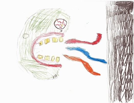 A child's drawing of an angry, hulk-like creature...or maybe an ogre...screaming at a dark black pole.