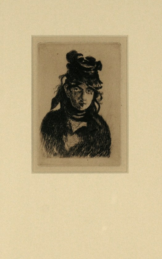This etching of painter Berth Morisot shows her in three-quarter view, from head to a little below her shoulders. She wears a hat and black dress.