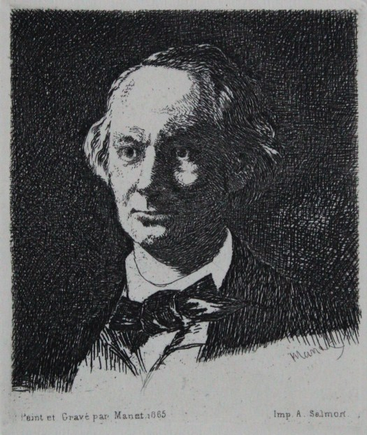 The portrait of Charles Baudelaire shows the poet at three-quarters view. He has a receding hairline, eyes gazing off into the distance and is dressed in bow-tie and black suit jacket.