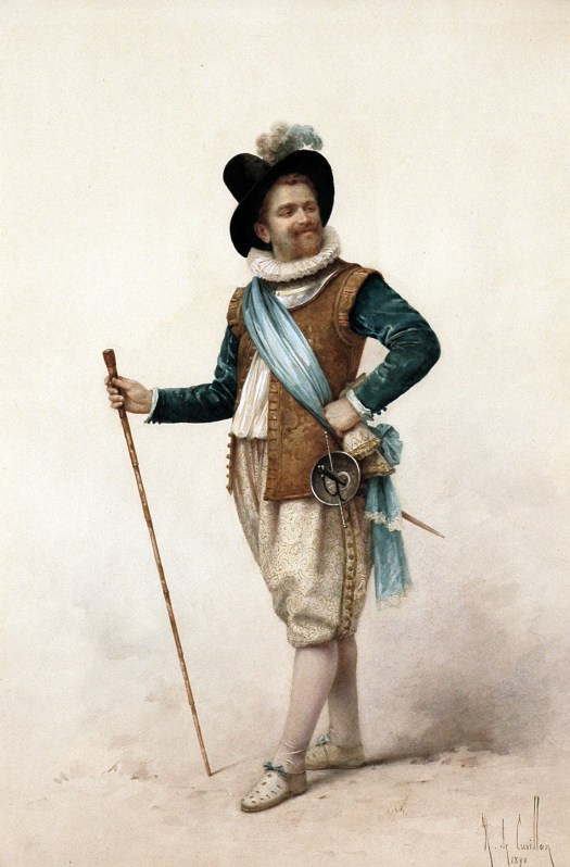 Against a white background, a man stands with his hand on one hip and a walking stick in the other. Dressed in the French fashion, with a gold doublet, green sleeves, white pantaloons, and white shoes. He also sports a hat with a feather.