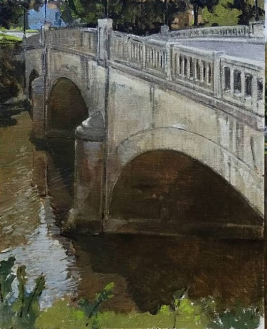 A painting of bridge crossing over a lake.
