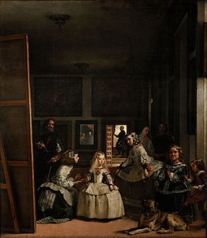A portrait of the Spanish princess and her ladies-in-waiting. The left side of the composition shows a large scale canvas and Velazquez, the painter, behind it, standing back as if admiring his work. A dog lays at the feet of the Infanta, or Spanish princess. In the background, a mirror or portrait of her parents hangs on the wall.