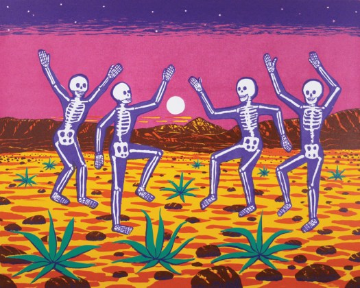 Four purple skeletons dance in the desert. Mountains in the background against a pink sky and raising moon.