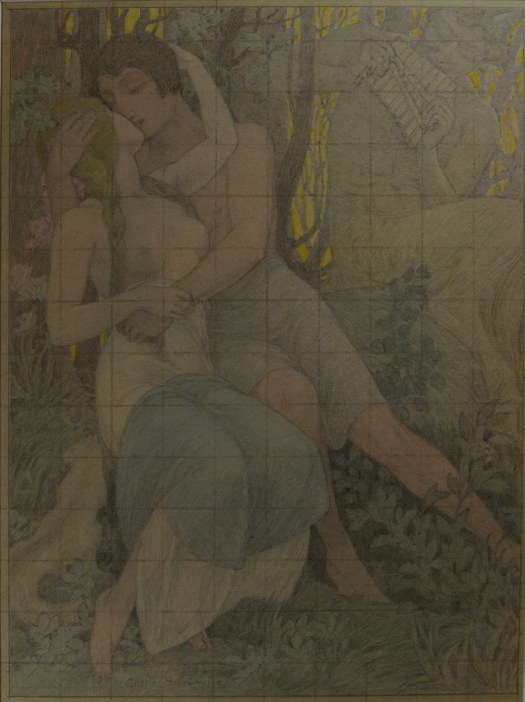 A man and woman embrace in a grove. Behind them, a faun plays on his pipes. Across the composition are light vertical and horizontal lines, like on graph paper.