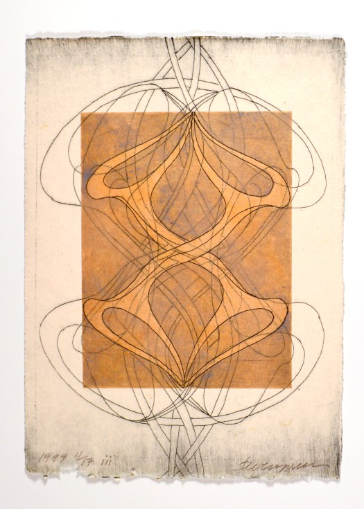 An abstract etching of lines intersecting, suggesting the human body and ribs.