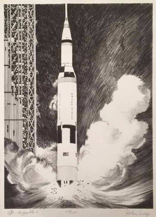 A lithograph showing the Apollo 11 rocket as it shoots off from base, a plume of smoke gathering around it.