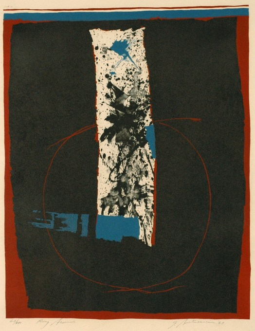 The most abstract print so far, Garo created a vertical masterpiece with a dark, black background lined in red and blue. Inside the black space, a thick white line is splashed with black, blue and red, adding some texture. Around the bottom of the thick, white line there is a thin, red circle. His signature is in the bottom-right, and the edition number and title rest in the bottom-left corner.